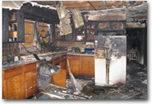 Fire damage in residential kitchen.